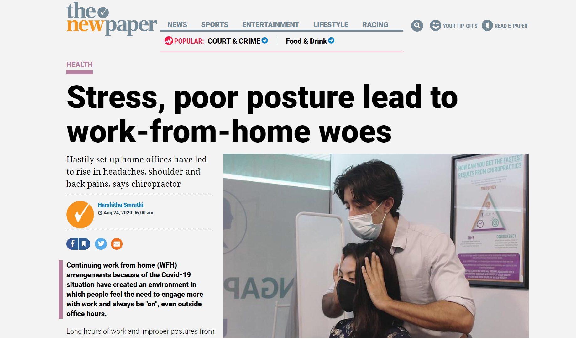 typed of neck pain newpaper chiropractic vitality singapore